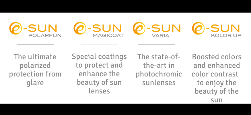 Sun technologies at the service of prescription sunglasses. Find here, polarized prescription sunlenses, photochromic technology, color boosted and color contrast enhanced sun lenses with mirror coatings as optional for outdoors activities.