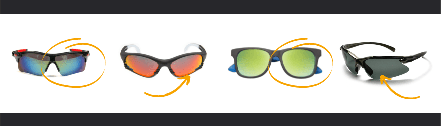 Sun prescription lenses possible with different frames shapes for outdoors activities. Wrap-around frames, curved glasses, flat frames, mid-wrapped sunglasses, full-wrapped eyewear o semi-rimless and rimless eyeglasses.
